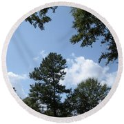 Wooded Forest  Round Beach Towel by Joseph Baril