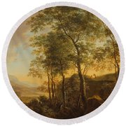 Wooded Hillside With A Vista Round Beach Towel by Jan Both