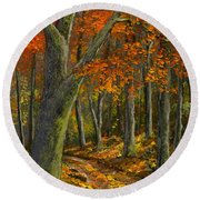 Wooded Road Round Beach Towel