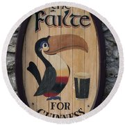 Wooden Guinness Sign Round Beach Towel by Christiane Schulze Art And Photography