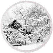 Wooden House After Heavy Snowfall. Russia Round Beach Towel