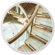 Wooden Staircase Round Beach Towel