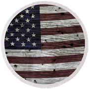 Wooden Textured Usa Flag3 Round Beach Towel