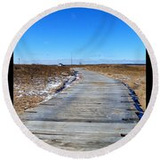 Round Beach Towel featuring the photograph Plum Island by Eunice Miller