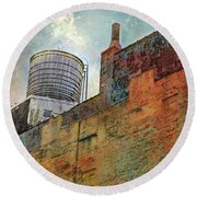 Wooden Water Tower New York City Roof Top Round Beach Towel
