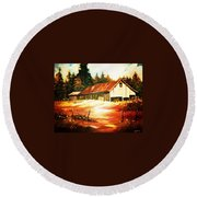 Round Beach Towel featuring the painting Woodland Barn In Autumn by Al Brown