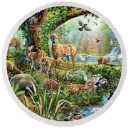 Woodland Creatures Round Beach Towel