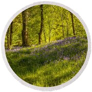 Woodland Of Bluebells Round Beach Towel