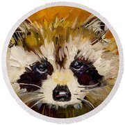 Woodland Racoon Round Beach Towel