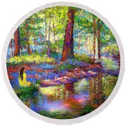 Round Beach Towel featuring the painting Woodland Rapture by Jane Small