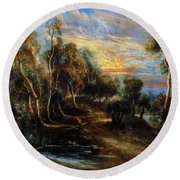 Woodland Scenery Round Beach Towel