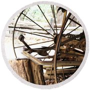 Round Beach Towel featuring the photograph Woody And Wheely by Faith Williams