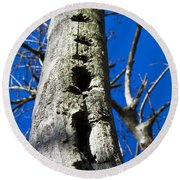 Round Beach Towel featuring the photograph Woody's Paradise by Nick Kirby