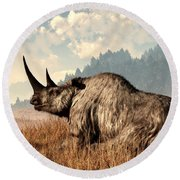 Woolly Rhino And A Marmot Round Beach Towel