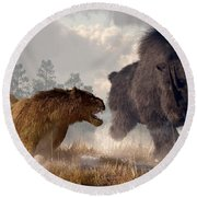 Woolly Rhino And Cave Lion Round Beach Towel