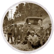Workers On Highway One Monterey Carmel Hill California 1929 Round Beach Towel