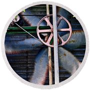 Round Beach Towel featuring the photograph Working Old Fan by Kristi Swift