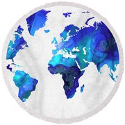 World Map 17 - Blue Art By Sharon Cummings Round Beach Towel by Sharon Cummings