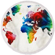 World Map 19 - Colorful Art By Sharon Cummings Round Beach Towel