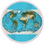 Round Beach Towel featuring the painting World Map Cartography by Georgi Dimitrov