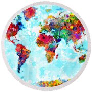 World Map Spattered Paint Round Beach Towel