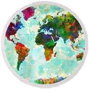 World Map Splatter Design Round Beach Towel