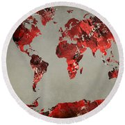 World Map - Watercolor Red-black-gray Round Beach Towel