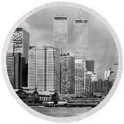 New York City - World Trade Center - Vintage Round Beach Towel