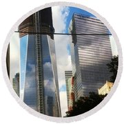 World Trade Center Twin Tower Round Beach Towel by Susan Garren