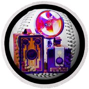 Round Beach Towel featuring the digital art World Travelers 2 Baseball Square by Andee Design