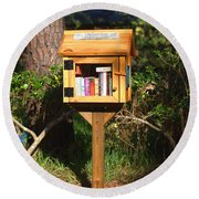 Round Beach Towel featuring the photograph World's Smallest Library by Gordon Elwell