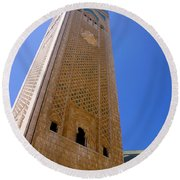 Round Beach Towel featuring the photograph Worlds Tallest Minaret At 210m Hassan II Mosque Grand Mosque Sour Jdid Casablanca Morocco by Ralph A  Ledergerber-Photography