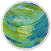 Round Beach Towel featuring the painting Worship by Cassie Sears