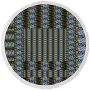 Woven Blue And Gold Mosaic Round Beach Towel