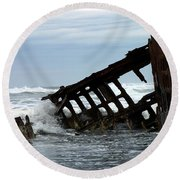 Round Beach Towel featuring the photograph Wreck Of The Peter Iredale by Chalet Roome-Rigdon