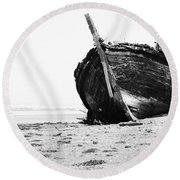 Wreckage On The Bay Round Beach Towel