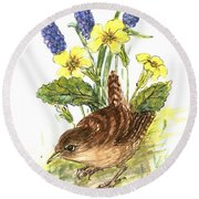 Wren In Primroses  Round Beach Towel