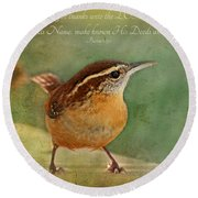 Wren With Verse Round Beach Towel