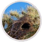 Wrens Nest In Teddy Bear Cholla Round Beach Towel