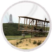 Wright Brothers Memorial At Kitty Hawk Round Beach Towel