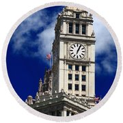 Wrigley Building Clock Tower Round Beach Towel