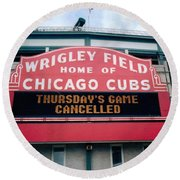 Round Beach Towel featuring the photograph Wrigley Field Weeps For America by Sheri Keith