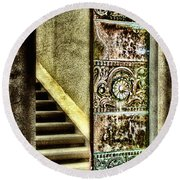 Wrigley's Tower Bronze Doors By Diana Sainz Round Beach Towel