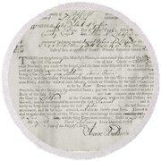 Writ Of Debt, 1762 Round Beach Towel