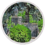 Wrought Iron Gate Round Beach Towel