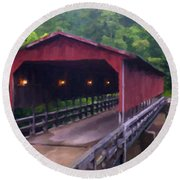 Wv Covered Bridge Round Beach Towel