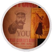 Ww1 Recruitment Posters Round Beach Towel