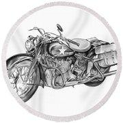 Ww2 Military Motorcycle Round Beach Towel