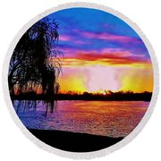 Round Beach Towel featuring the photograph Wyandotte Mi Sunrise by Daniel Thompson