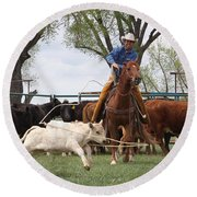 Wyoming Branding Round Beach Towel by Diane Bohna